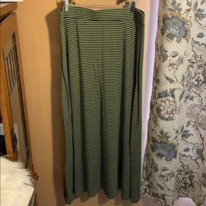 Tommy Bahama Green and Navy Striped Maxi Skirt